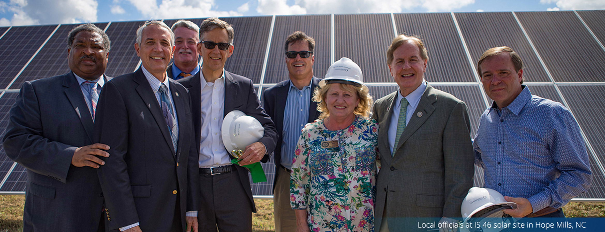 Local officials cut the ribbon on Cypress Creek's IS 46 solar site in Hope Mills, NC