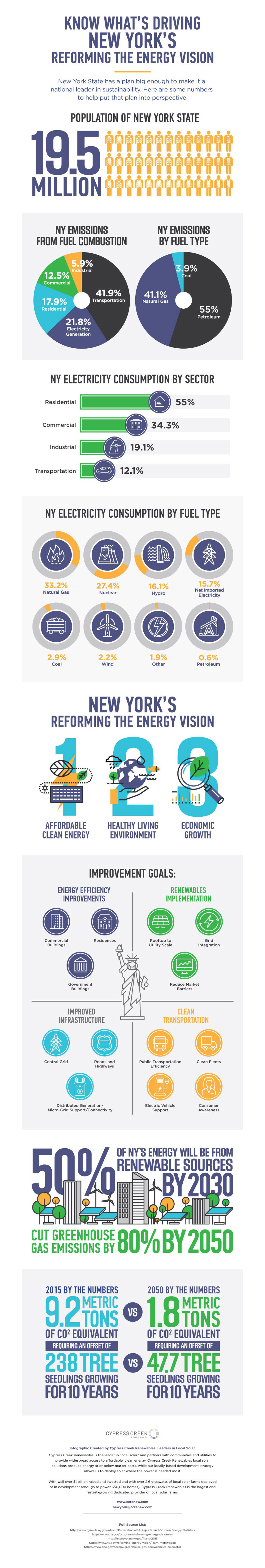 Infographic explaining New York's Reforming Energy Vision initiative, outlining NY population, energy usage, and more.