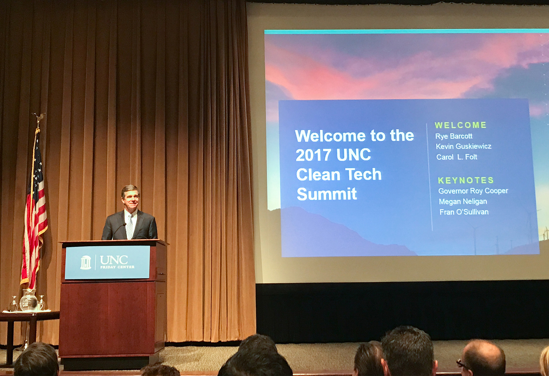 clean tech speaker Governor Roy Cooper