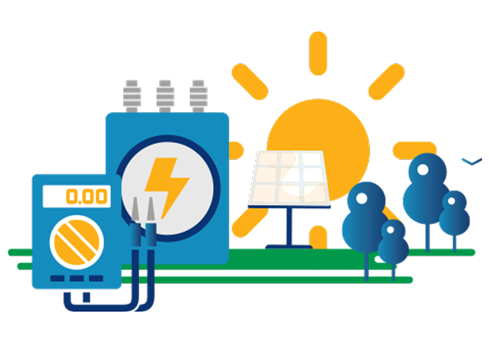 Illustration of the sun, trees, a solar panel, a battery, and electrical wires